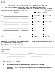 """Form Cfs718l """"Request for Updated Background Check for a Licensed Provider"""" - Illinois"""