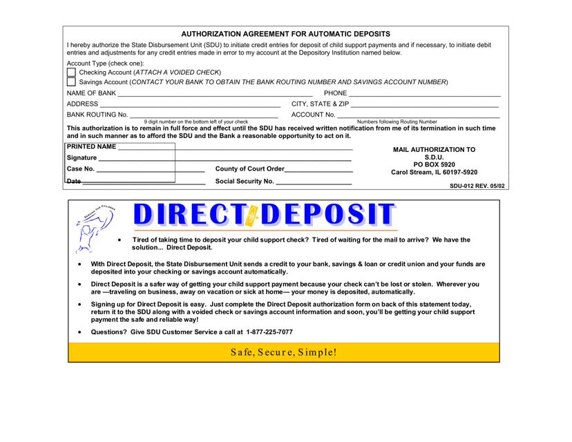 Form SDU-012 Printable Pdf