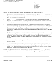 "Form HFS3304 ""Important Disclosure Statement Regarding Legal Representation"" - Illinois"