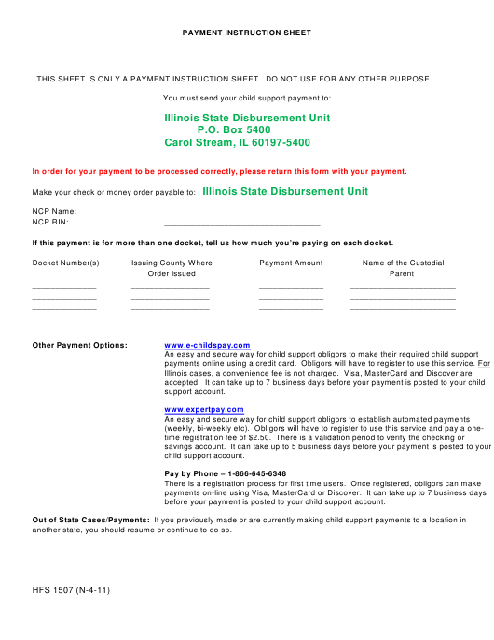 Form HFS 1507 Printable Pdf