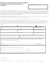 Form HFS 3416E Rescission of Illinois Voluntary Acknowledgment of Paternity or Rescission of Denial of Parentage - Illinois