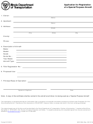 Form AER 2584 Application for Registration of a Special Purpose Aircraft - Illinois