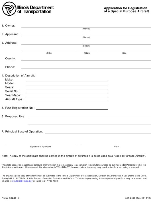 Form AER 2584 Fillable Pdf