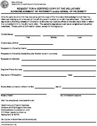 Form HFS 3416H Request for a Certified Copy of the Voluntary Acknowledgment of Paternity and/Or Denial of Paternity - Illinois