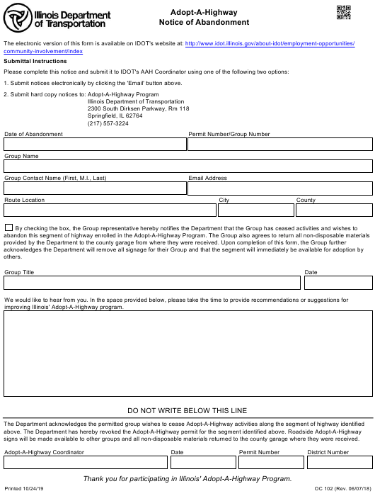 Form OC102 Printable Pdf