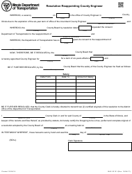 Form BLR 02121 Resolution Reappointing County Engineer - Illinois