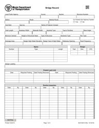 Form BLR 06310 Bridge Record - Illinois