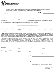 """Form OPER1931 """"Bond for Payment of Special Permit Fees and Charges to Illinois Department of Transportation for Movement of Vehicles of Excess Dimensions or Weight Over Illinois Highways"""" - Illinois"""