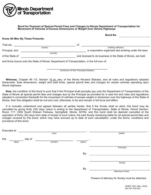 Form OPER1931 Printable Pdf