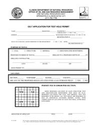 "Form OG-7 (IL472-0208) ""Application for Test Hole Permit"" - Illinois"