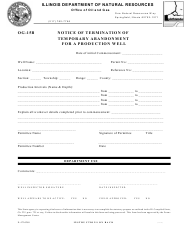 Form OG-15B Form Il 472-0280 - Notice of Termination of Temporary Abandonment for a Production Well - Illinois