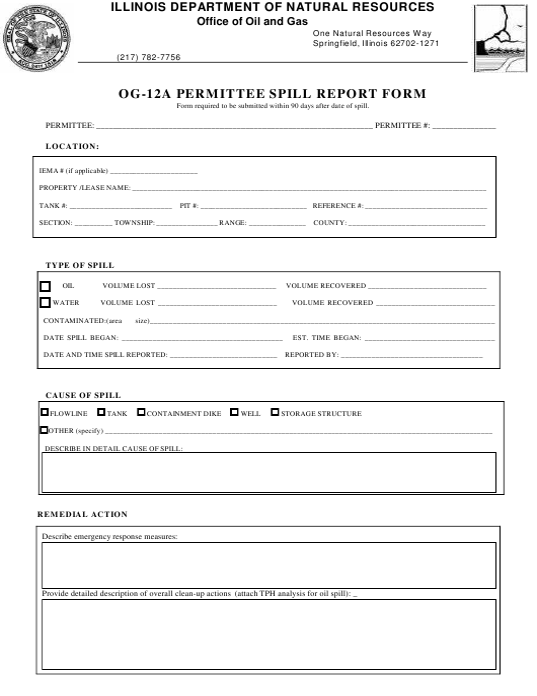 Form OG-12A  Fillable Pdf