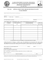 "Form OG-16A ""Application for Liquid Oilfield Waste Tank Permit"" - Illinois"