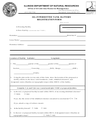 Form OG-19 Permittee Tank Battery Registration Form - Illinois
