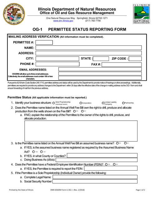 Form OG-1  Printable Pdf
