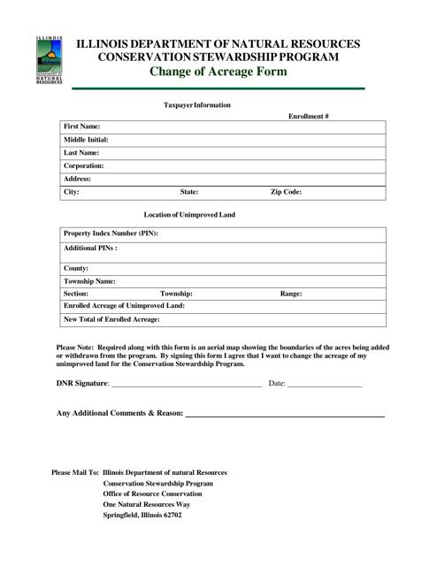 Change of Acreage Form - Illinois Download Pdf