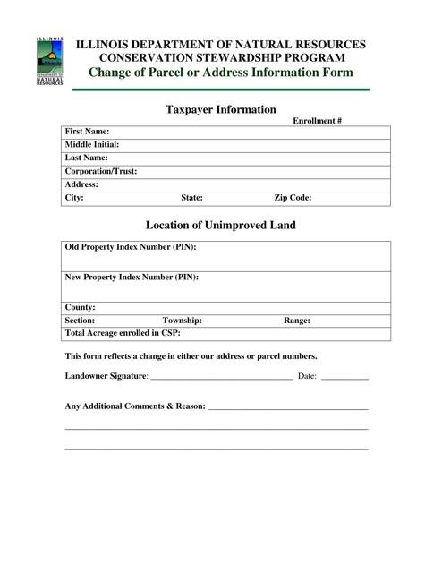 Change of Parcel or Address Information Form - Illinois Download Pdf
