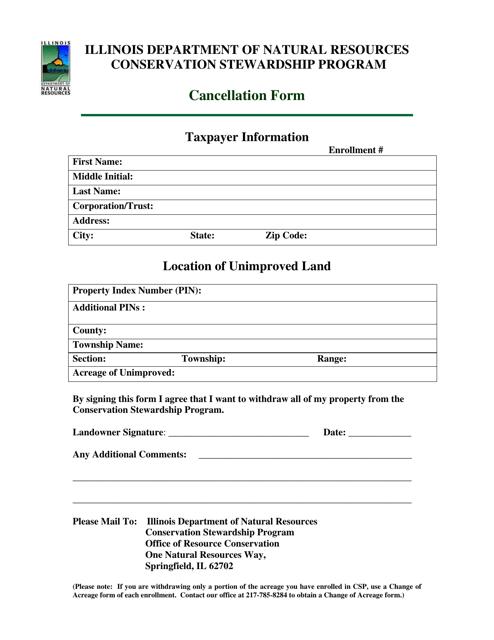 Cancellation Form - Illinois Download Pdf