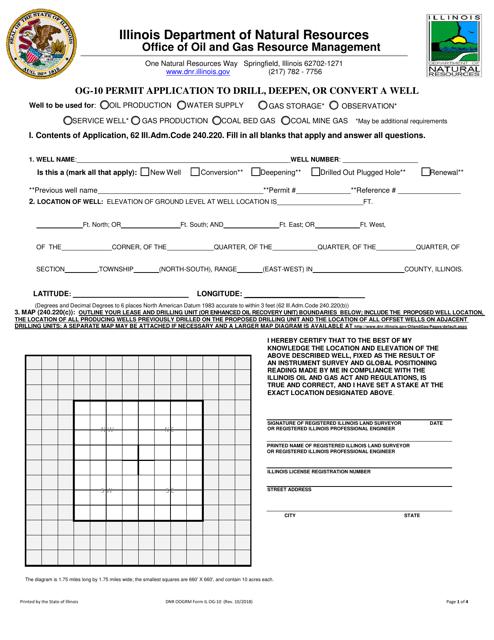 Form OG-10 Download Fillable PDF, Permit Application to
