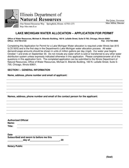 """""""Lake Michigan Water Allocation - Application for Permit"""" - Illinois Download Pdf"""
