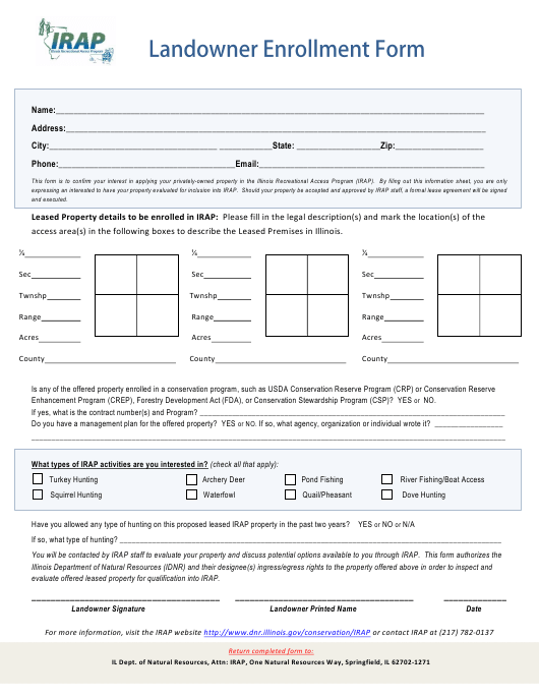 """Landowner Enrollment Form"" - Illinois Download Pdf"