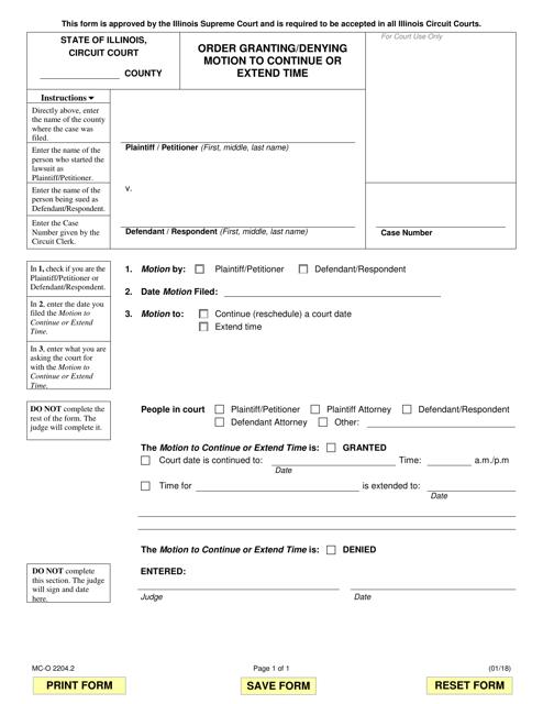 Form MC-O 2204.2 Fillable Pdf