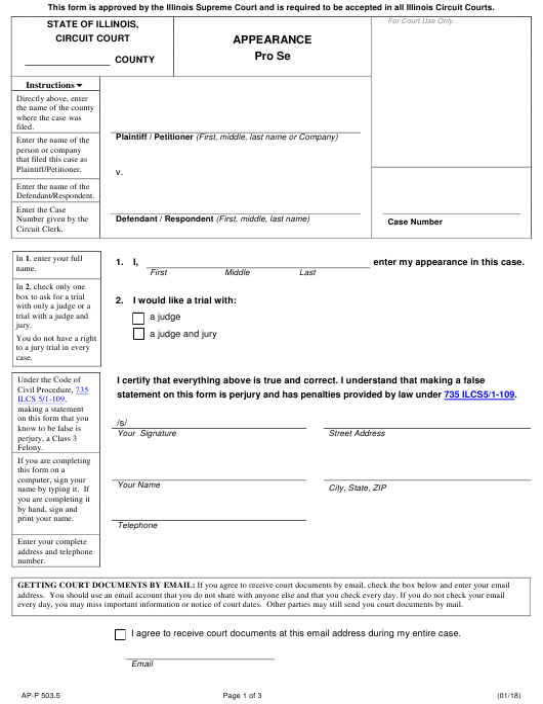 Form AP-P 503.5 Fillable Pdf