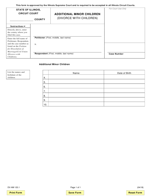 Form DV-AM 123.1 Fillable Pdf