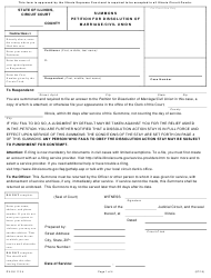 """Form DV-SU113.4 """"Summons Petition for Dissolution of Marriage/Civil Union"""" - Illinois"""