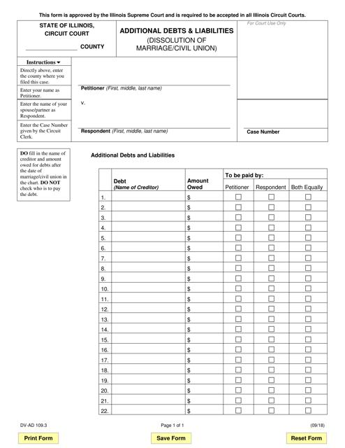 Form DV-AD 109.3 Fillable Pdf