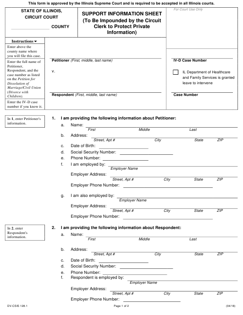 Form DV-CSIS128.1  Printable Pdf