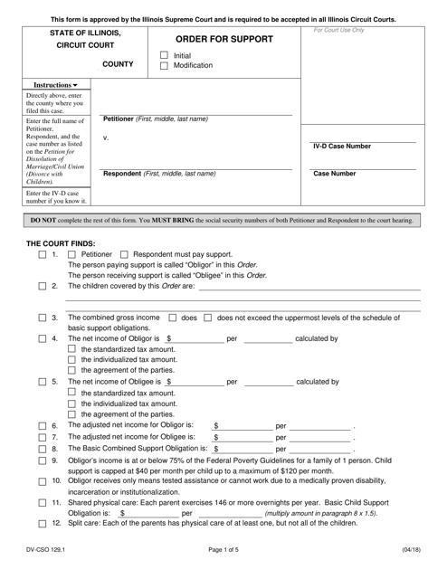 Form DV-CSO 129.1 Printable Pdf