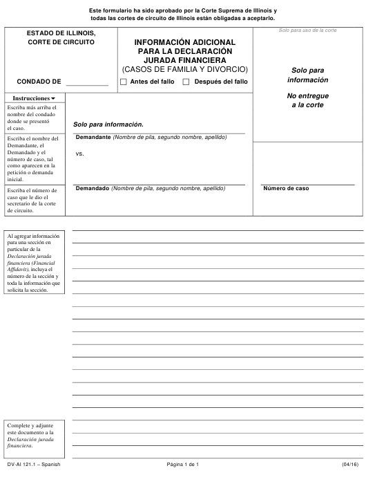 Form DV-AI 121.1 Printable Pdf
