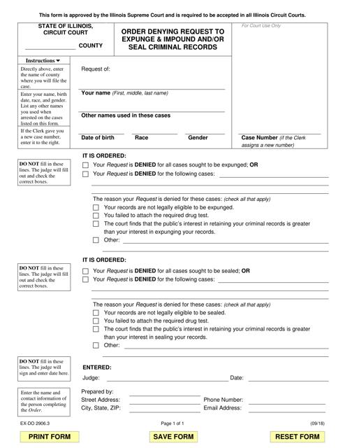 Form EX-DO 2906.3 Fillable Pdf
