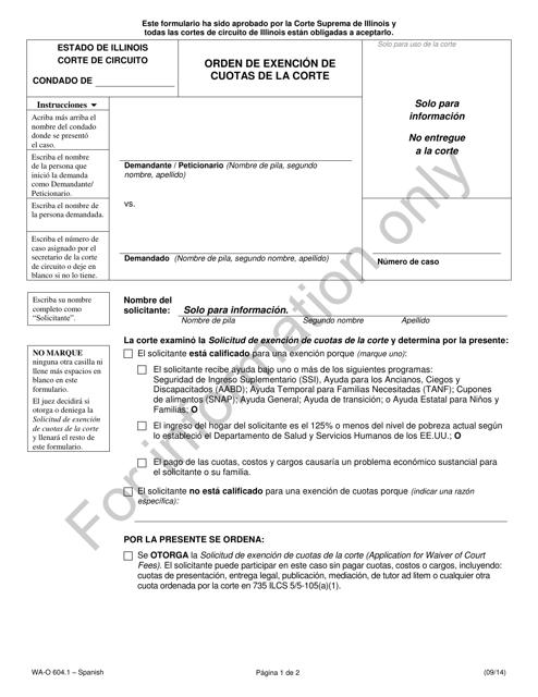 Form WA-O 604.1 Printable Pdf