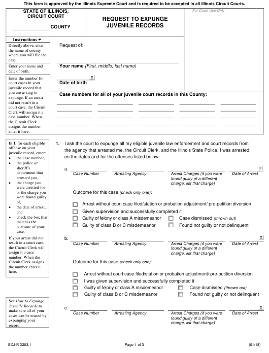 Form EXJ-R 3203.1 Fillable Pdf