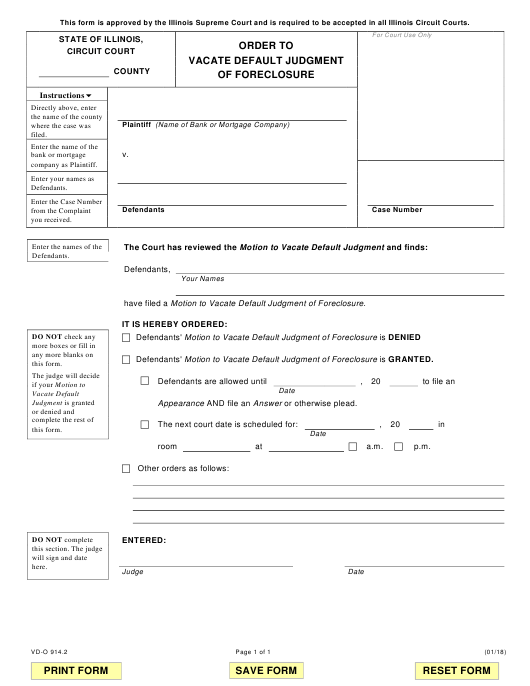 Form VD-O 914.2 Fillable Pdf