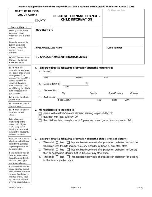 Form NCM-CI 2004.2 Fillable Pdf