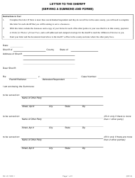 Form SU-LS 1505.1 Letter to the Sheriff (Serving a Summons and Forms) - Illinois