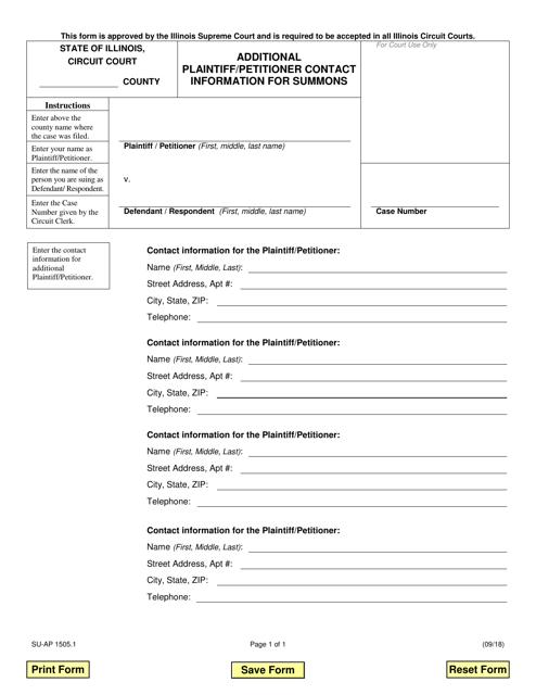 Form SU-AP 1505.1 Fillable Pdf