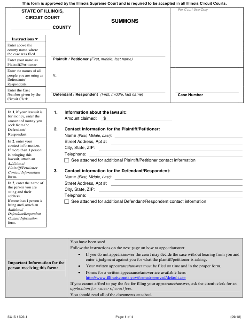 Form SU-S1503.1 Printable Pdf