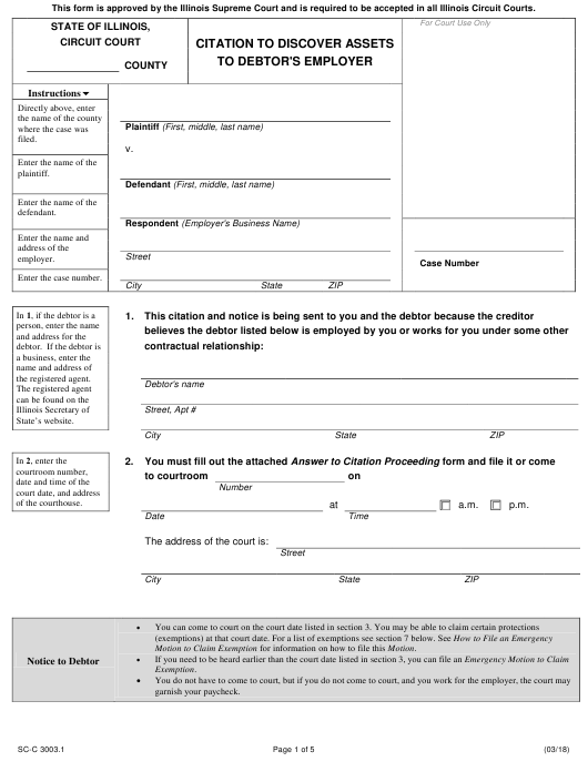 Form SC-C 3003.1 Fillable Pdf