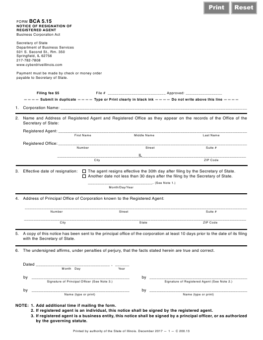 Form BCA 5.15 Fillable Pdf