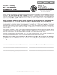 Aggravated Dui/ Reckless Homicide Information Sheet - Illinois