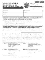Hearing Request to Contest Delinquent Child Support Payment Suspension - Court Order - Illinois