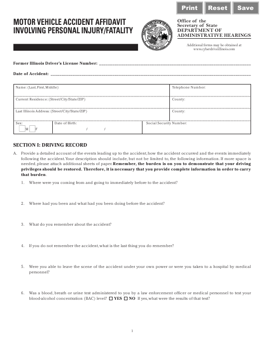Motor Vehicle Accident Affidavit Involving Personal Injury/Fatality - Illinois Download Pdf