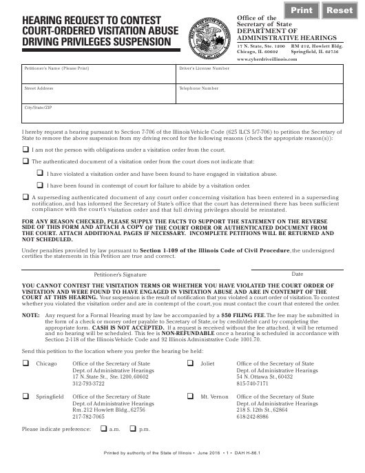 Hearing Request to Contest Court-Ordered Visitation Abuse Driving Privileges Suspension - Illinois Download Pdf