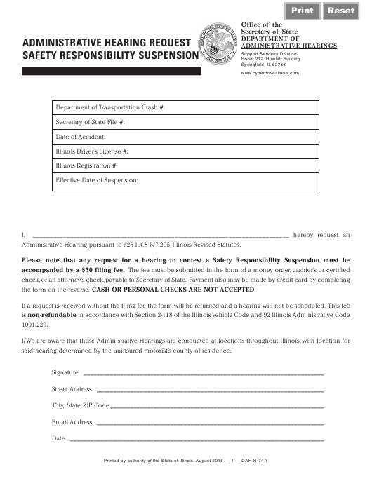 """Administrative Hearing Request Safety Responsibility Suspension Form"" - Illinois Download Pdf"