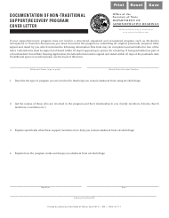 Form DAHIH 71 Documentation of Non-traditional Support/Recovery Program Cover Letter - Illinois