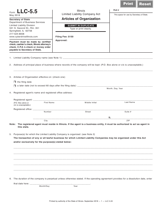 Form LLC 4.24 Fillable Pdf